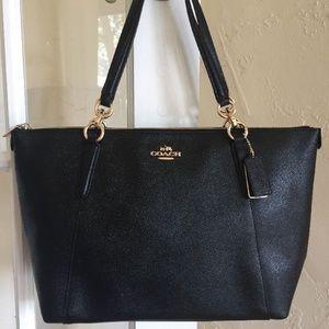 COACH Crossgrain Ava Tote Shoulder Bag Black